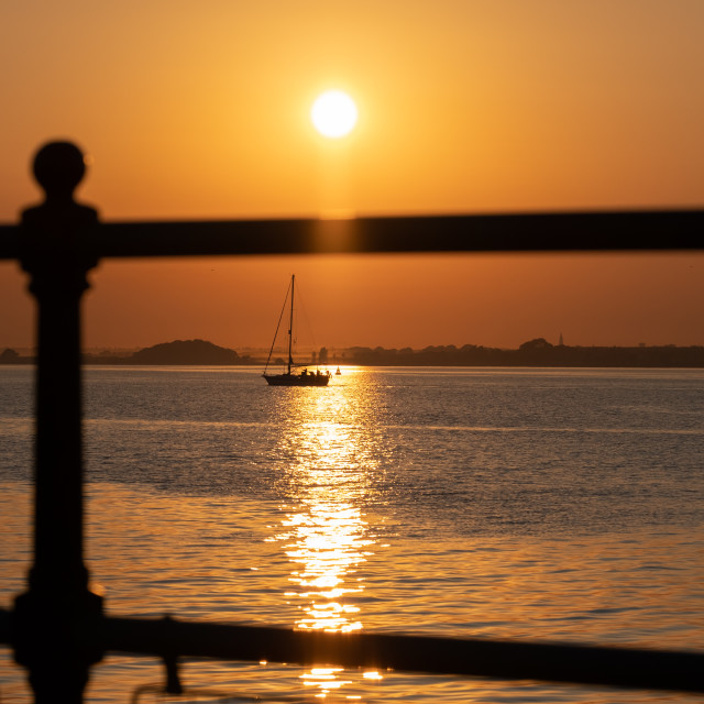 """Sunset Ha'penny Pier Harwich"" stock image"