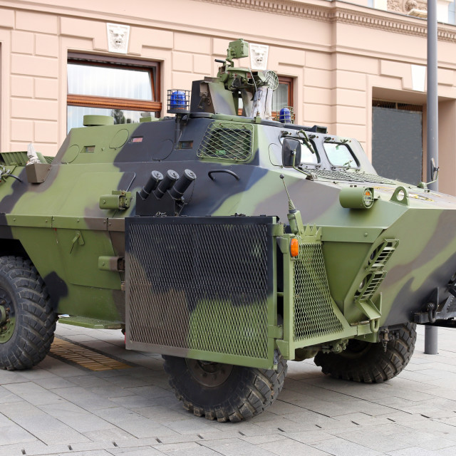 """""""Military armored vehicle on the street"""" stock image"""
