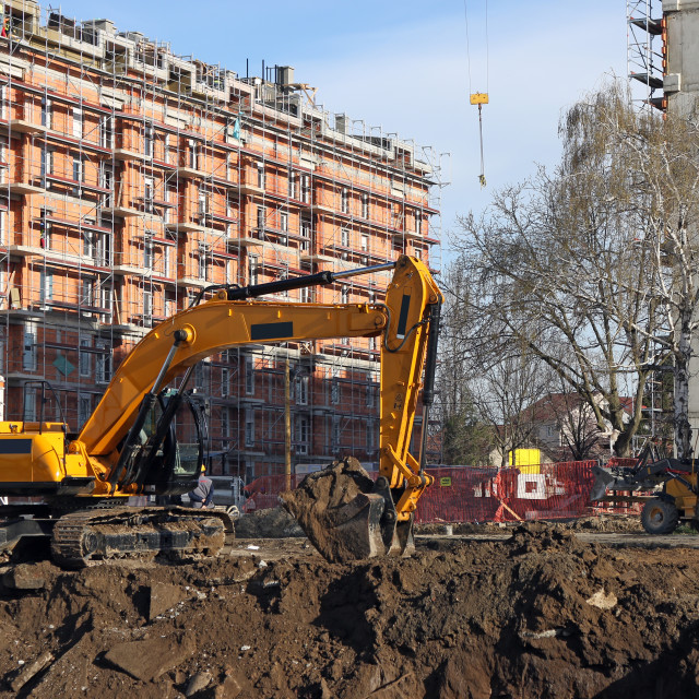 """""""new building construction site and excavators"""" stock image"""