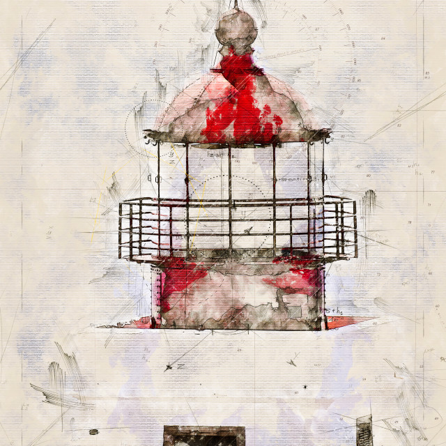 """""""Digital artistic Sketch of a Lighthouse on Madeira"""" stock image"""