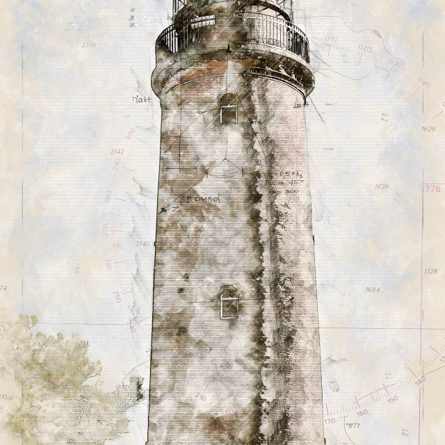 """""""Digital artistic Sketch of a Lighthouse on Darss in Germany"""" stock image"""