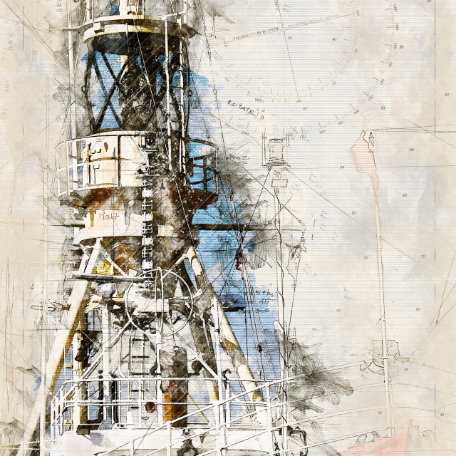 """""""Digital artistic Sketch of a Lightship in Germany"""" stock image"""