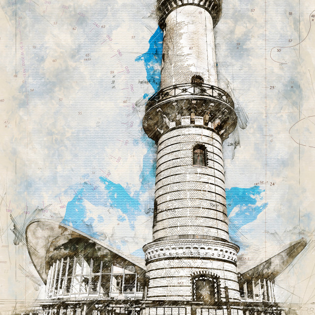 """""""Digital artistic Sketch of a Lighthouse in Warnemuende in Germany"""" stock image"""