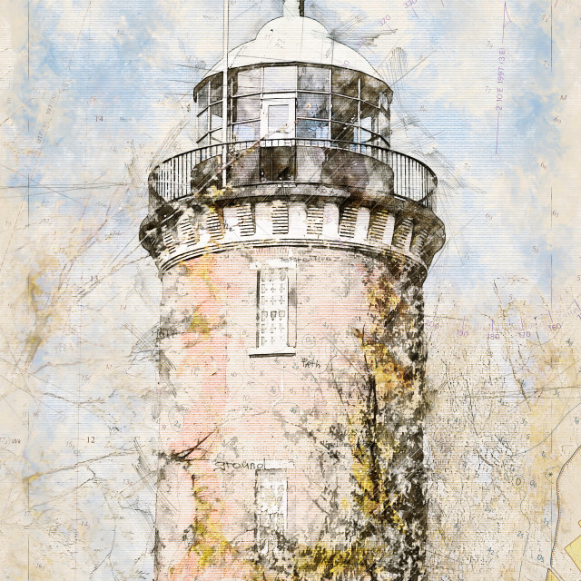 """""""Digital artistic Sketch of a Lighthouse in Cuxhaven in Germany"""" stock image"""