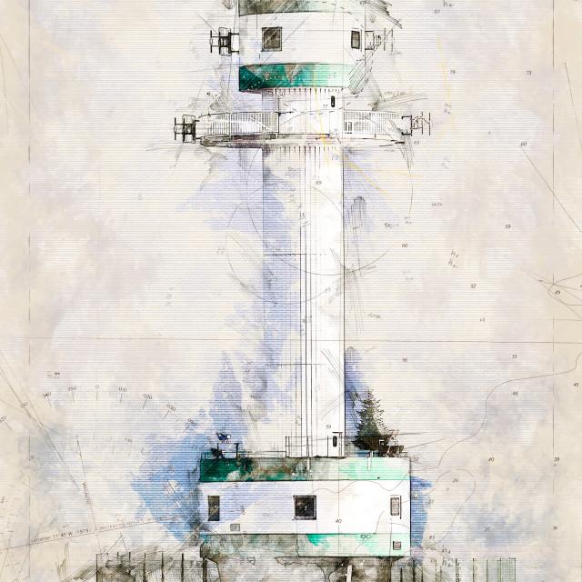 """Digital artistic Sketch of a Lighthouse in Kiel in Germany"" stock image"