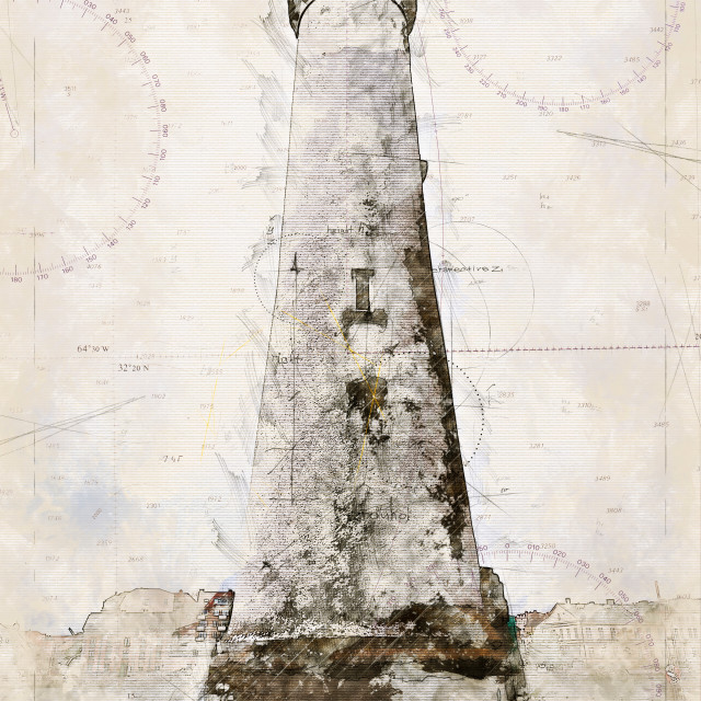"""""""Digital artistic Sketch of a Lighthouse in Karlskrona in Sweden"""" stock image"""