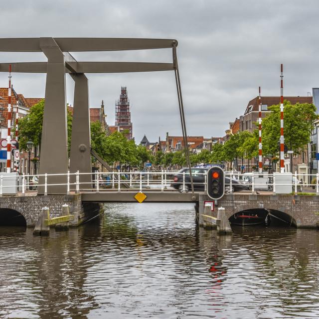 """Drawbridge on one of the main channels of Alkmaar Netherlands Holland"" stock image"