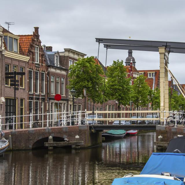 """Drawbridge detail and houses in Alkmaar. netherlands holland"" stock image"