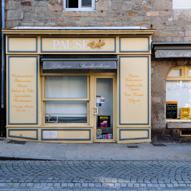 """Retro storefront of patisserie and cafe in Roscoff"" stock image"
