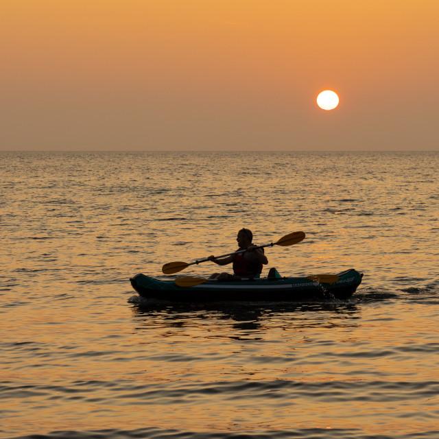 """""""Kayaking Silhouette"""" stock image"""