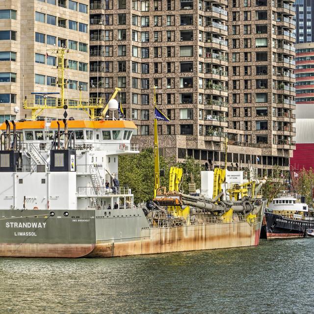 """""""Dredger at Rotterdam harbour festival"""" stock image"""
