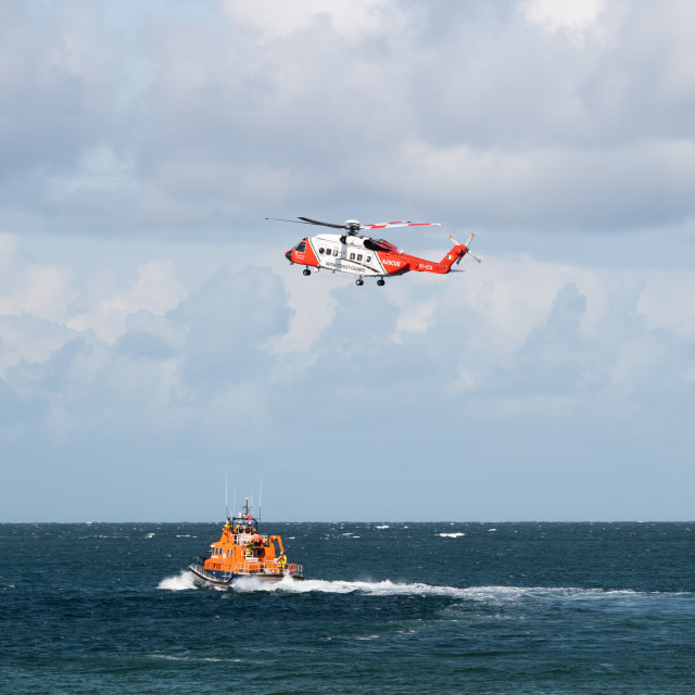 """RNLI Lifeboat and Irish Coast Guard"" stock image"