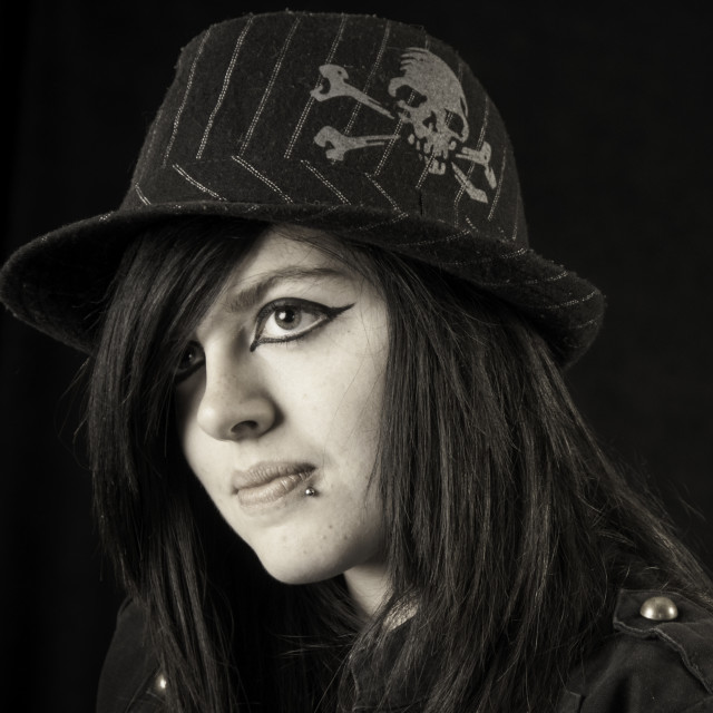 """""""Goth in hat"""" stock image"""