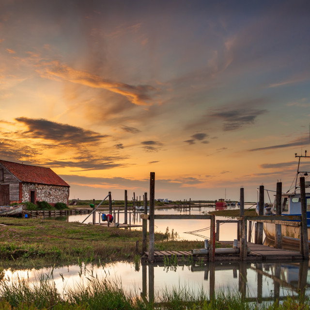 """High tide Sunset at Thornham Harbour 1"" stock image"