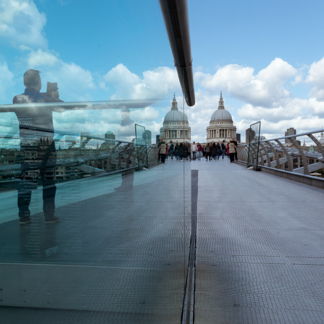 """St Paul's Cathedral Reflection, Millennium Bridge, London"" stock image"