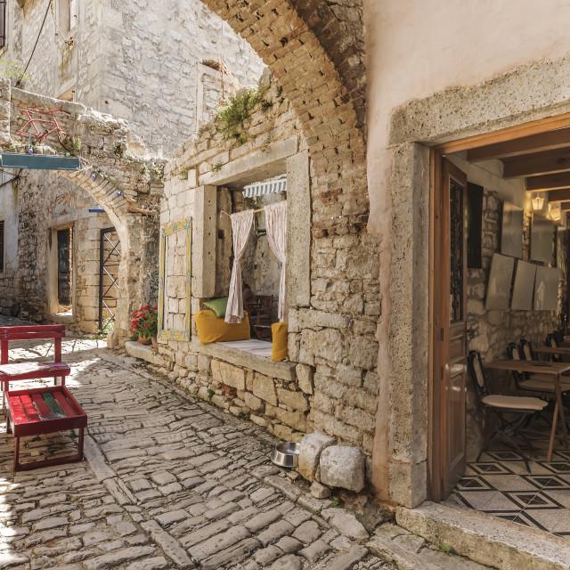 """Narrow stone street in Bale, Istria, Croatia"" stock image"