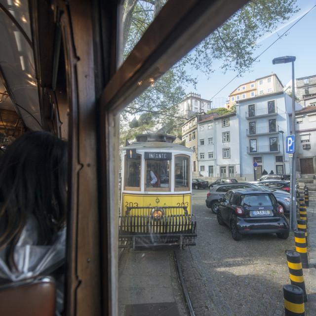"""EUROPE PORTUGAL PORTO FUNICULAR TRAIN"" stock image"