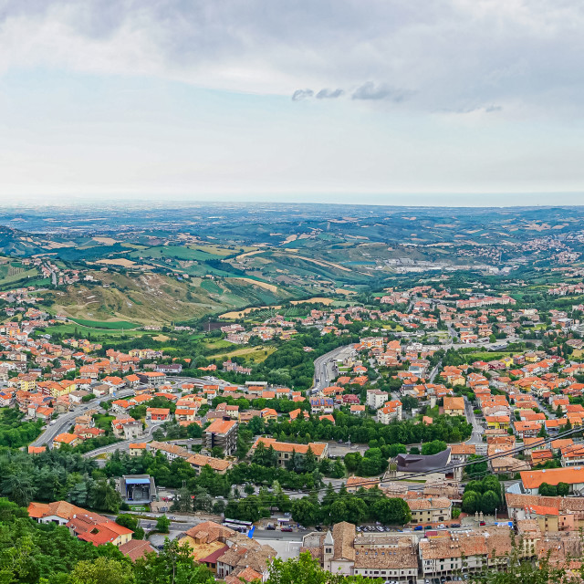 """""""View on the country side of San Marino from capital city"""" stock image"""