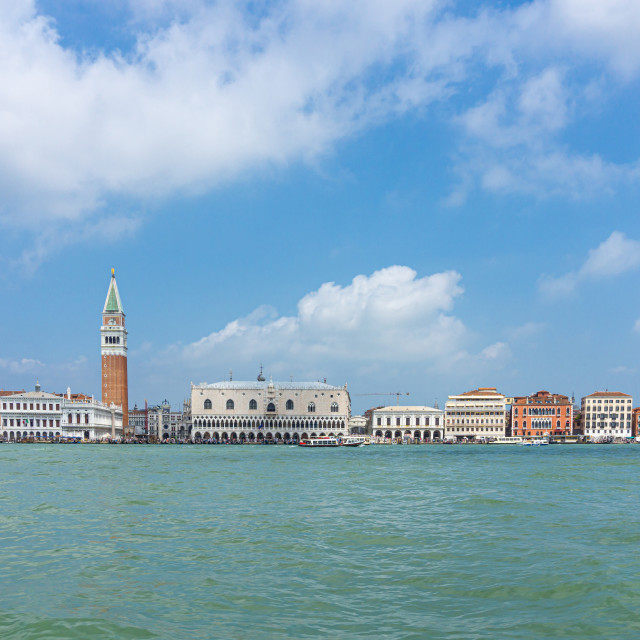 """View from the boat on famous cityscape of Venice town"" stock image"