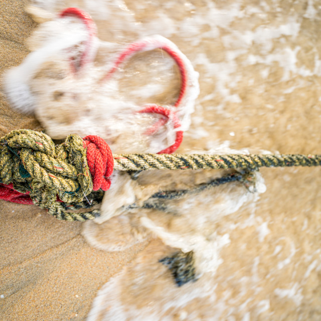 """""""Red knotted ships rope 2"""" stock image"""