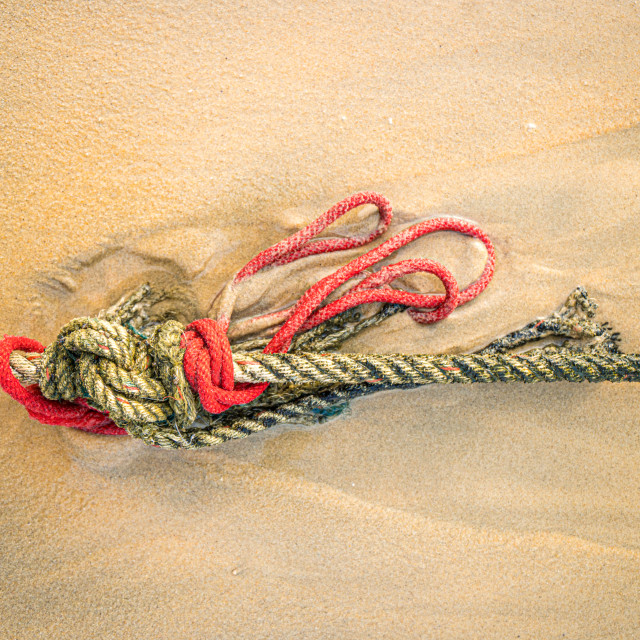 """""""Red knotted ships rope 1"""" stock image"""