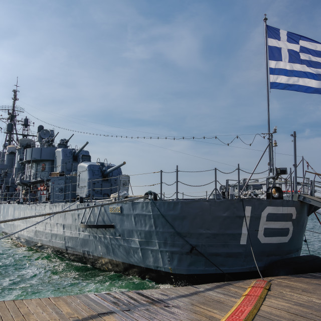"""""""Greek warship destroyer Velos D-16 at waterfront in Thessaloniki, Greece."""" stock image"""