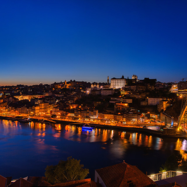 """Night view of the Porto city in blue hour."" stock image"