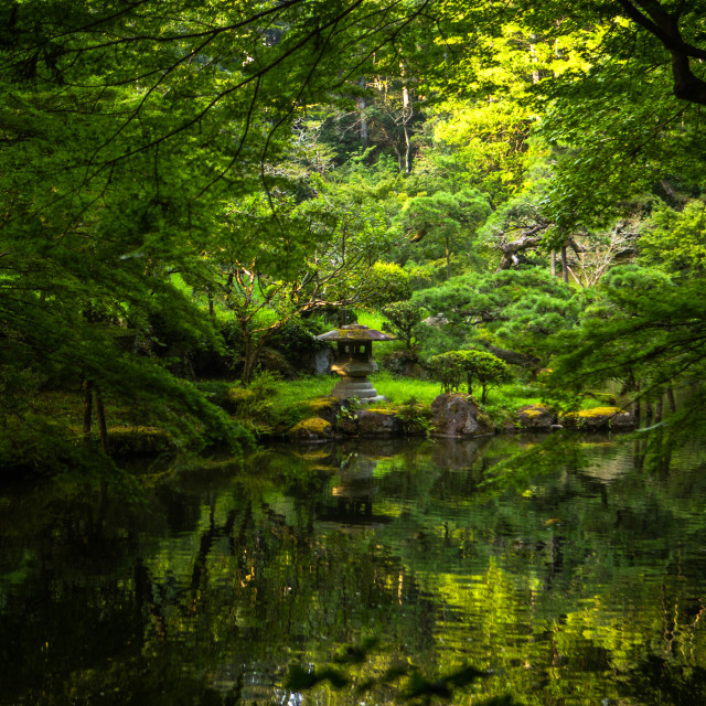 """Japanese Pond at a Buddhist Temple"" stock image"