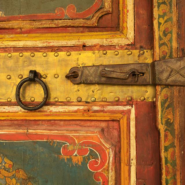 """""""Ancient door lock, Marrakesh, Morocco"""" stock image"""