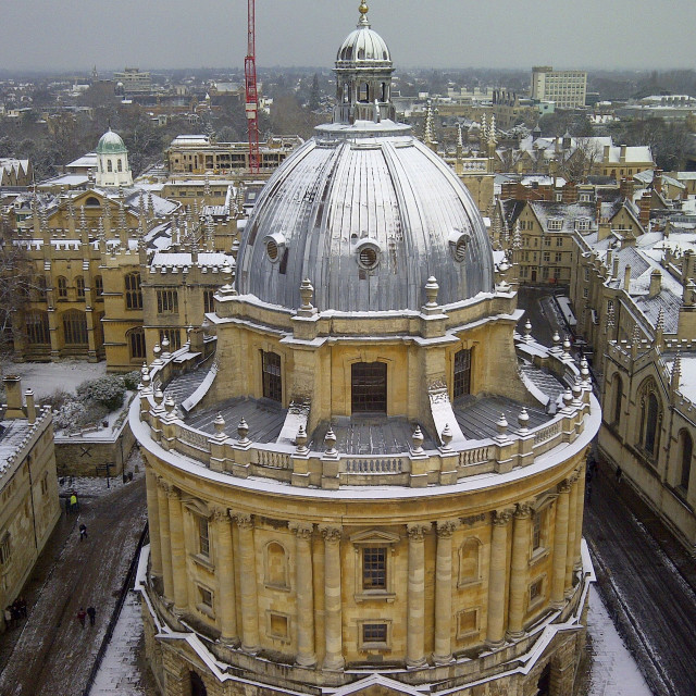 """Oxford Radcliffe Camera from above in snow"" stock image"