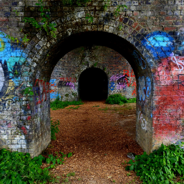 """Railway bridge at Bowbridge Canal"" stock image"