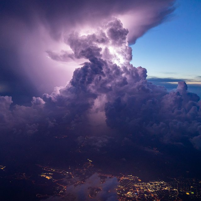 """intense thunderstorm with some lightning during sunset"" stock image"