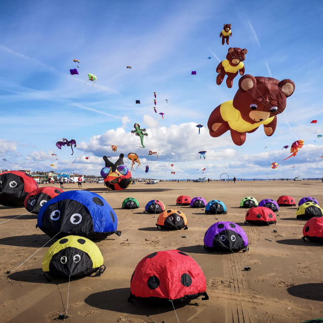"""Lytham, England, UK, September 7, 2019, Another successful weekend of Kite flying and displays at the Lytham International Kite Festival 2019"" stock image"