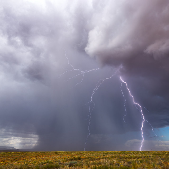 """Thunderstorm with lightning and heavy rain"" stock image"