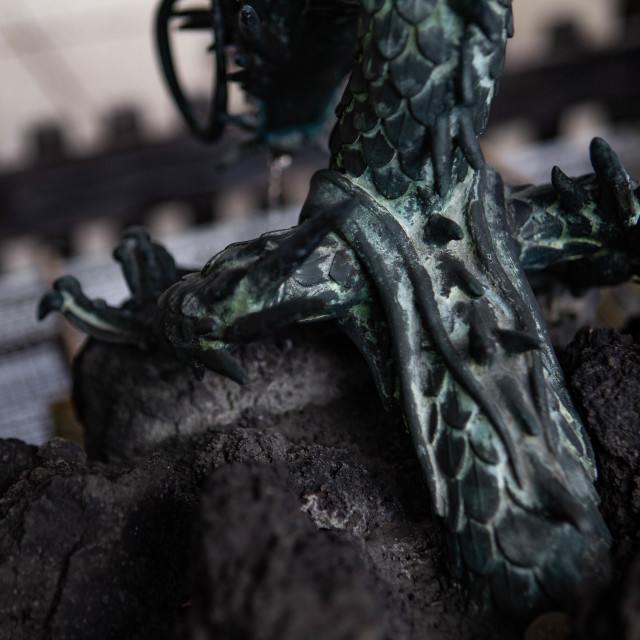 """Japanese Buddhist Dragon Statue Macro Photograph"" stock image"