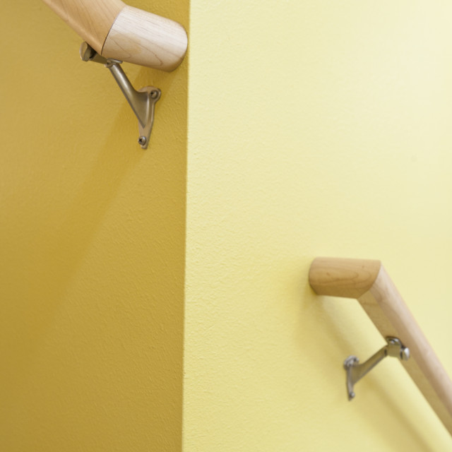 """""""Newly build stairwell handles of a disability accessible home"""" stock image"""