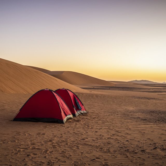 """""""Tents in the sand dunes; Kawa, Northern State, Sudan"""" stock image"""