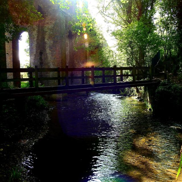 """Walkway bridge at Stroud canal"" stock image"