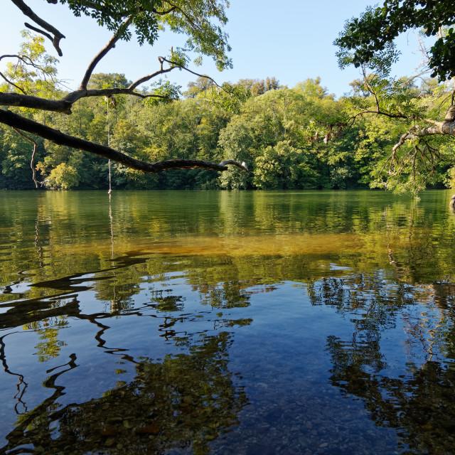 """Seine river reflection"" stock image"