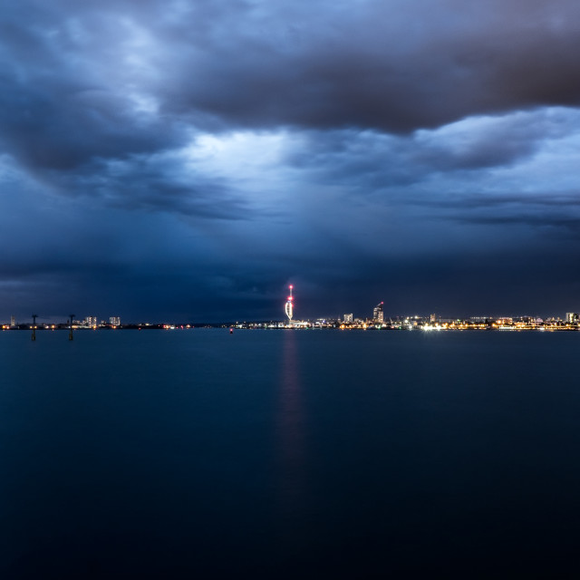"""""""Portsmouth at night"""" stock image"""
