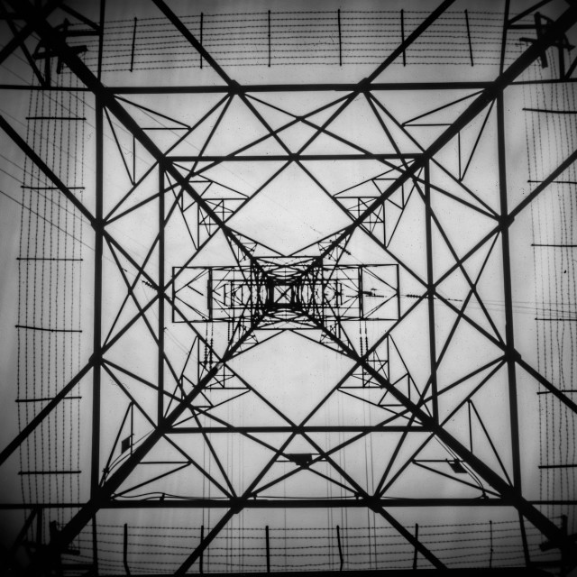 """Up a Pylon - pinhole photography"" stock image"