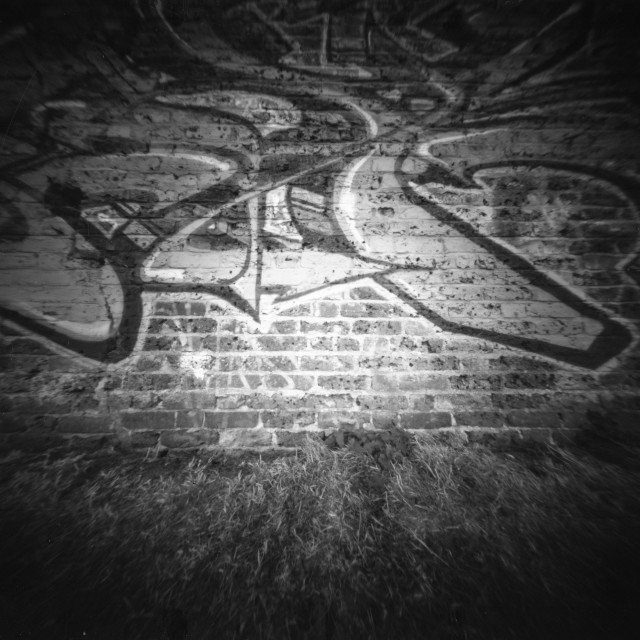 """Graffiti wall - Pinhole photography"" stock image"