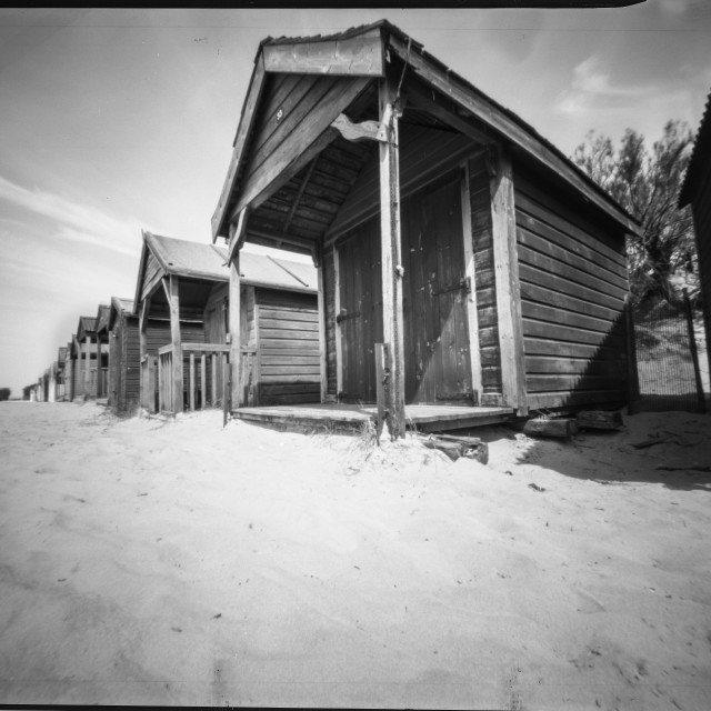 """West wittering beach huts - Pinhole photography"" stock image"