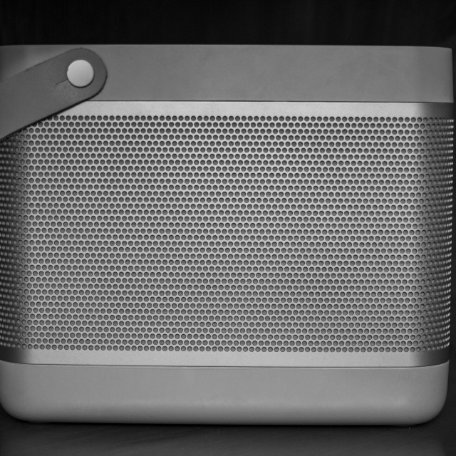 """""""Hi-Fi Wireless speaker with front metal grid"""" stock image"""