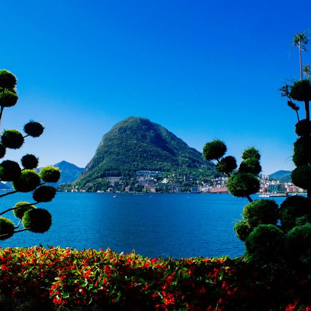 """Monte San Salvatore and Lake of Lugano"" stock image"