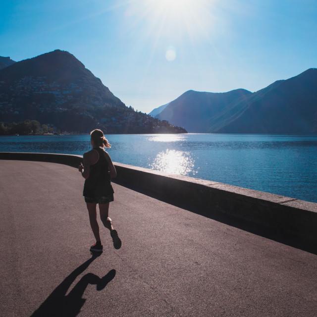 """""""Lago di Lugano with Monte Bre"""" stock image"""