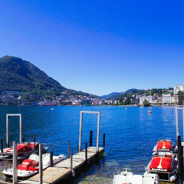 """Lugano Lake with San Salvatore"" stock image"