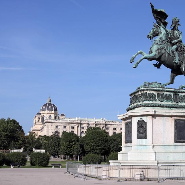 """""""Equestrian statue of Archduke Karl on Heldenplatz in Vienna Aust"""" stock image"""