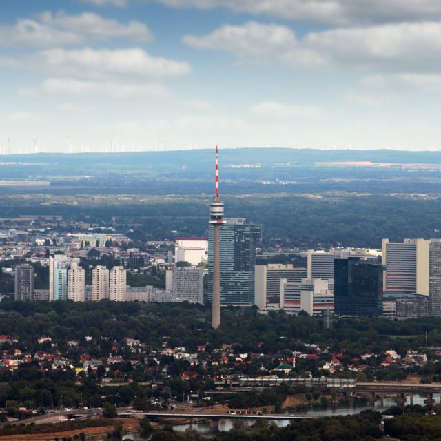 """""""Tv tower Vienna city panoramic view Austria"""" stock image"""