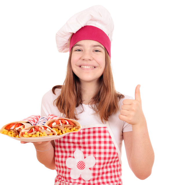 """happy girl cook with gyros pita and thumb up"" stock image"